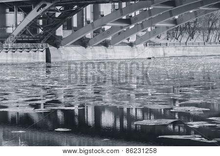 Ice On The River Under The Bridge