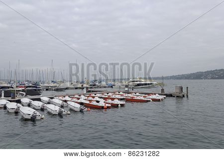 Beauty Colorful Yachts On Lake Geneva In Geneva, October 8, 2013