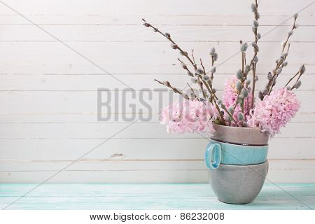 Background With Hyacinths Aand Willow Branches