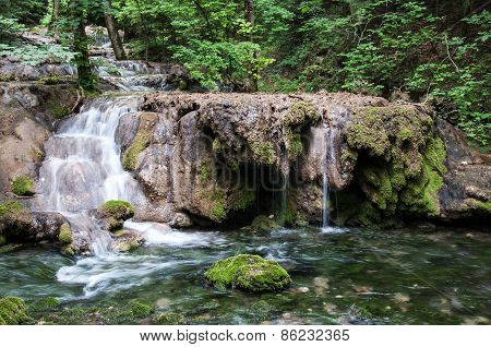 Waterfalls and cascades in forest