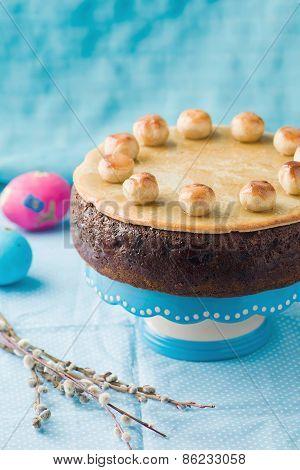 Simnel Cake .traditional English Easter Cake With Marzipan.