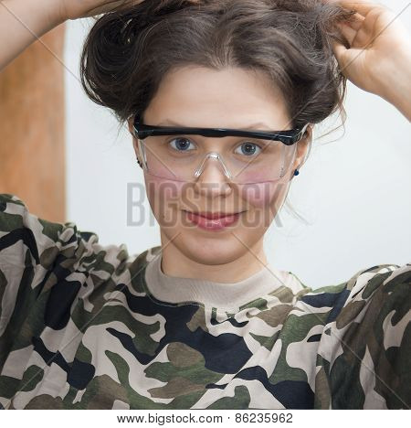 Smiling Girl With Goggles