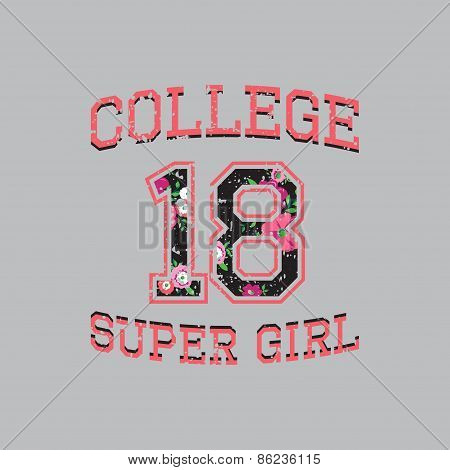 Vector Print College Super Girl For Typography