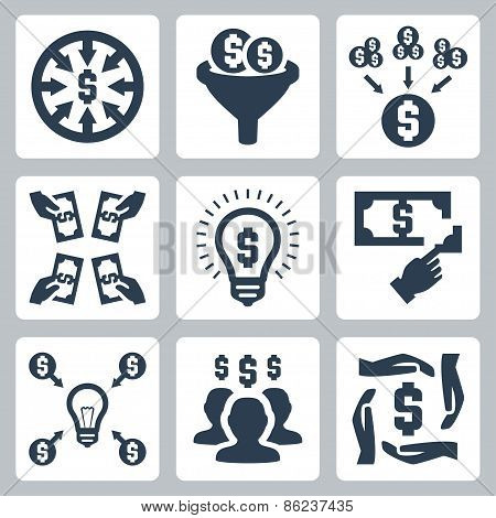 Crowdfunding And Investing Vector Icons Set