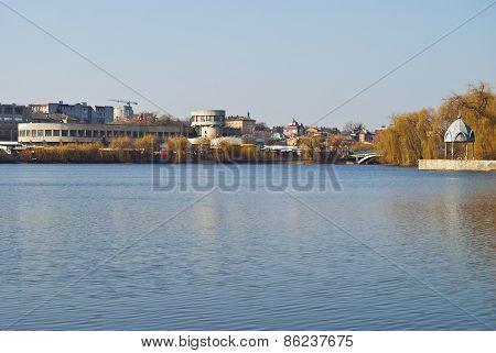 Urban Lake With Seagulls.