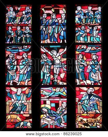 ELLWANGEN, GERMANY - MAY 07: Stained glass window in Basilica of St. Vitus in Ellwangen, Germany on May 07, 2014.