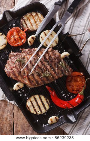 Grilled Beef Steak On The Grill Pan Closeup, Vertical Top View