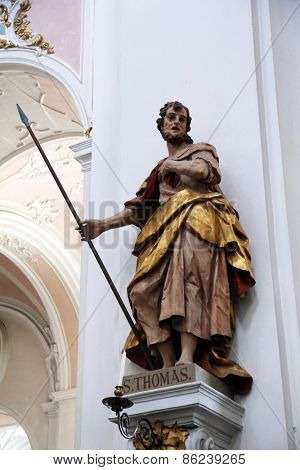 ELLWANGEN, GERMANY - MAY 07: Saint Thomas the Apostle, Basilica of St. Vitus in Ellwangen, Germany on May 07, 2014.