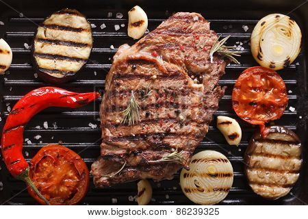 Beef Steak And Vegetables On The Grill. Horizontal Background