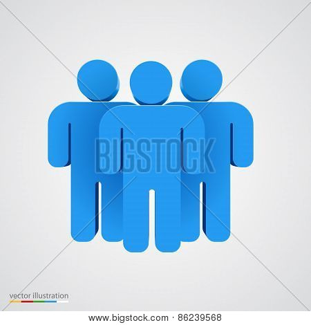 Three-dimensional people group. Teamwork concept