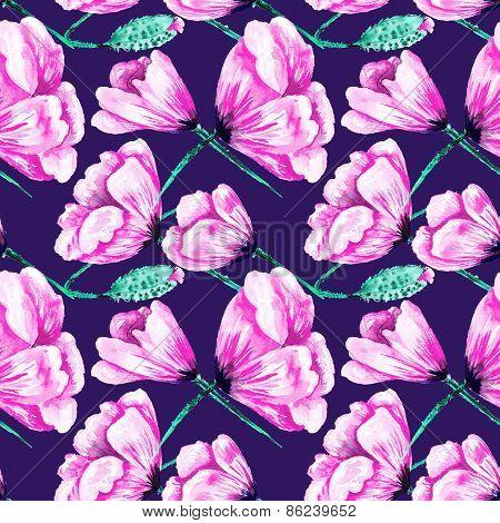 Modern Colored Poppy Pattern