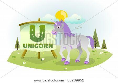 Funny Cartoon Alphabet U With Unicorn