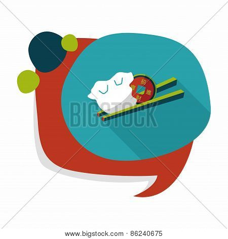 Chinese New Year Flat Icon With Long Shadow,eps10, Coin Wrapped In Dumplings Where People Eat Throug