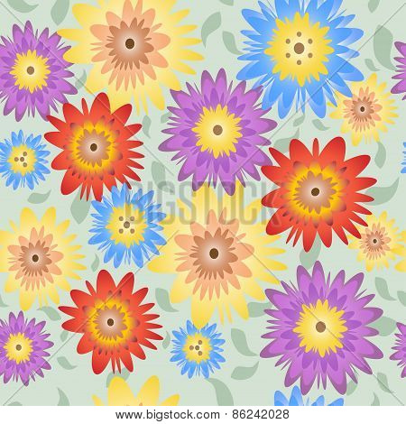 Floral pattern with green background