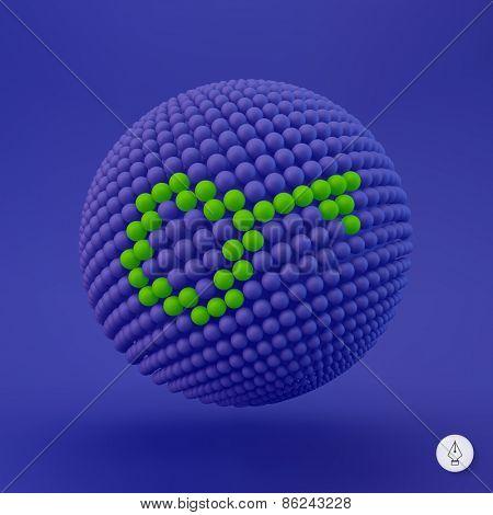 Key icon. Web sign. Design element. Vector illustration. 3D Pixel Art.