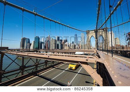 Lower Manhattan skyline view from Brooklyn Bridge in New York City. No brandnames or copyright objects.