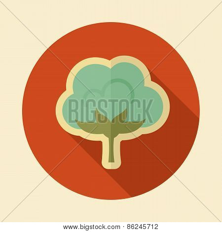 Cotton Retro Flat Icon With Long Shadow