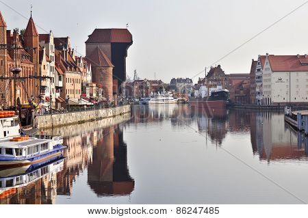 Medieval wooden crane in the old town in Gdansk, Poland