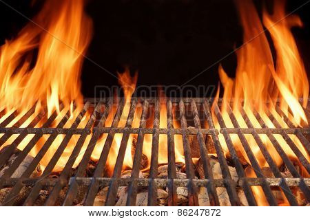 Flame Fire Empty Hot Barbecue Charcoal Grill With Glowing Coals