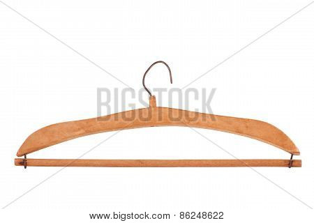 Antique Wooden Clothes Hanger Isolated On White