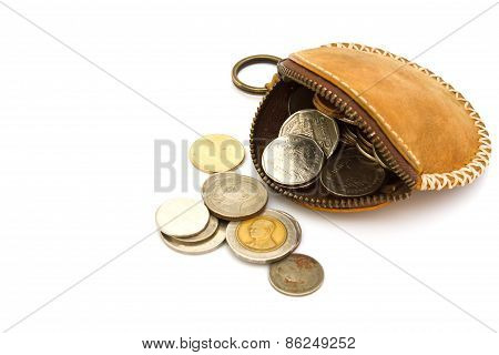 Purses and coins. On a white background.