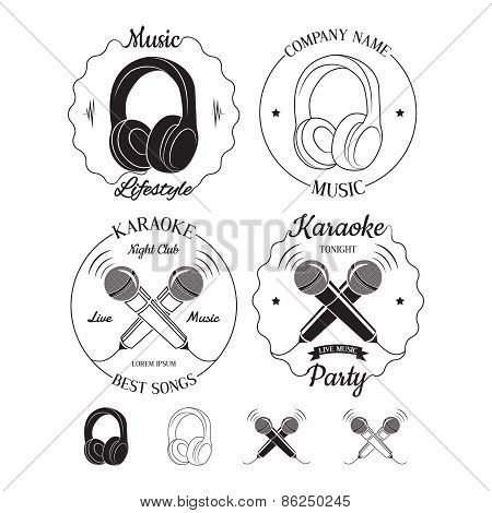 Set Of Music And Karaoke Logos, Labels, Badges And Design Elements