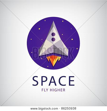 vector modern origami space rocket icon