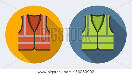 Orange And Green Safety Vests Icons, Flat Style