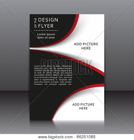 Vector design of the black flyer with red elements