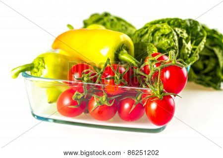 Bunch Of Vegetables In The Glass Jar