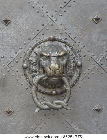 Lion head door knocker close-up