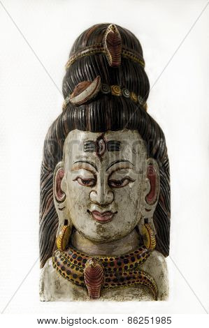 Lord Shiva, a traditional Nepalese wall mask of wood.