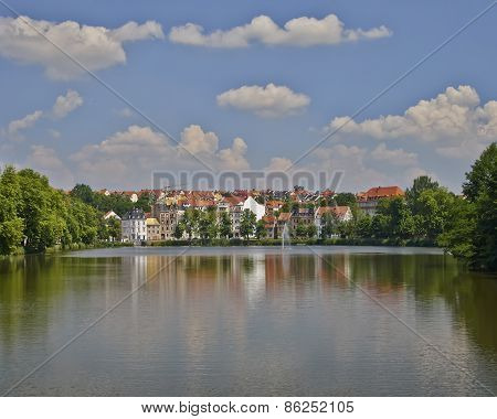 Altenburg medieval city, view from the lake Germany