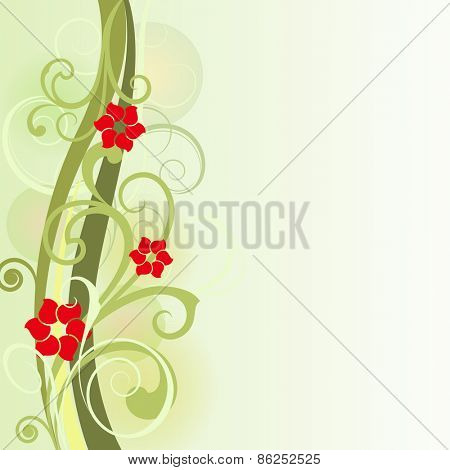 Floral spring vector card design with copy space.
