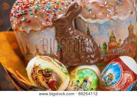 Easter eggs cake and bunny shape chocolate