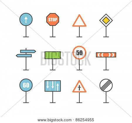 Different road sign icons collection. Design elements