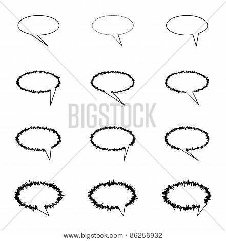 Elliptic speech bubbles for comics and other uses