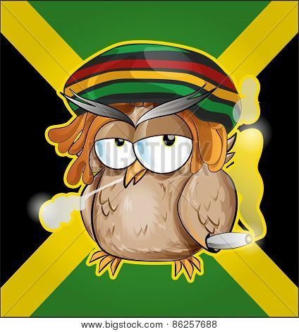 Rastafarian Owl Cartoon On Jamaican Flag