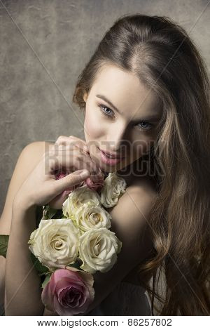 Happy Woman With Roses Bouquet