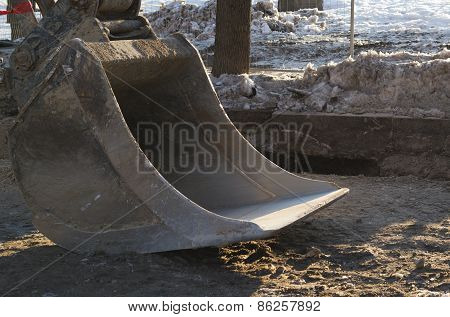 Outside construction works, excavator shovel
