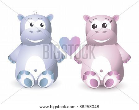 Two Cute Hippo Sitting