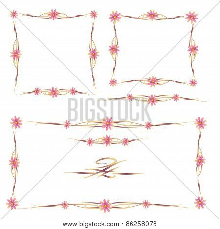 Colorful Floral Frames And Ornaments Set