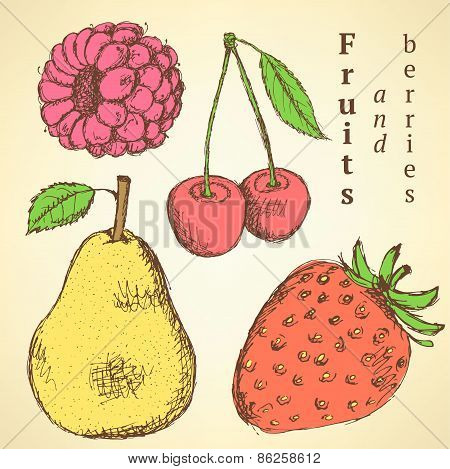 Sketch Fruits And Berries In Vintage Style