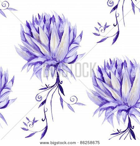 Watercolor Pattern with Purple Flowers