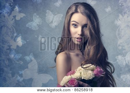 Surprised Woman With Flowers