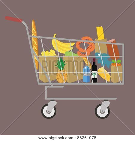 Flat design colored vector illustration of food and drink products , concept for retail. Isolated on