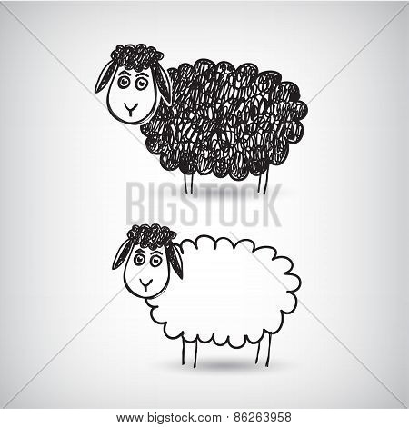 vector hand drawn doodle cartoon sheep
