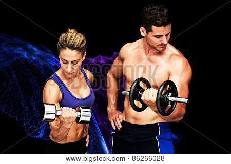 Bodybuilding couple against blue design