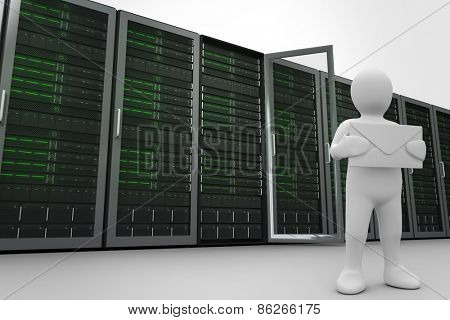 White character holding message against server towers