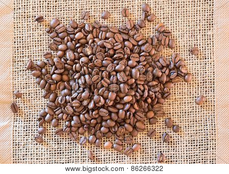 Coffee beans on tissue mat